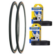 Michelin Dynamic Classic Clincher Road Tyre Twin Pack with 2 Free Tubes - Black 700c x 23mm