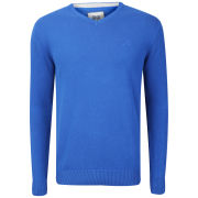 Crosshatch Men's Veeter V-Neck Knitted Jumper - Classic Blue