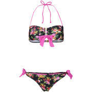 South Beach Women's Multi Rose Print Bandeau Bikini - Multi
