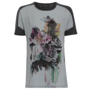 Damned Delux Women's Oversized Floral T-Shirt - Grey