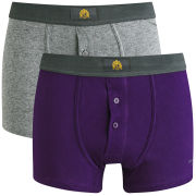 William Hunt Men's 2 Pack Boxers - Charcoal/Plum