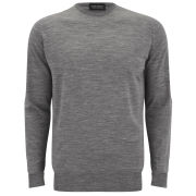 John Smedley Men's Merino Wool Crew Neck Knitted Jumper - Silver