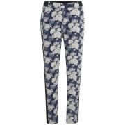 VILA Women's August Floral Trousers - Black Iris