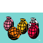 5 Grenades A3 Unlimited Johnny Cotter Print