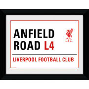 "Liverpool Anfield Street Sign - 16"""" x 12"""" Framed Photographic"