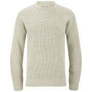 Brave Soul Men's Konstantig Knitted Elbow Patch Jumper - Cream