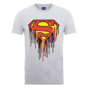 DC Comics Men's T-Shirt - Superman Drip Logo - Heather Grey
