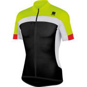 Sportful Pista Longzip Short Sleeve Jersey - Black/Yellow/White