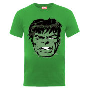Marvel Hulk Face Distress Men's T-Shirt - Kelly Green