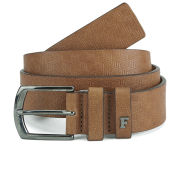 French Connection Men's Geo Embossed Leather Belt - Cognac