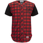 Sik Silk Men's Baseball Shirt - Red Tartan