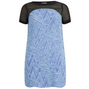 Neon Rose Women's Zig Zag Panel Dress - Blue