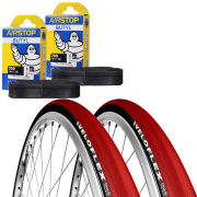 Michelin Lithion 2 Clincher Road Tyre Twin Pack with 2 Free Inner Tubes - Red/Black 700c x 23mm
