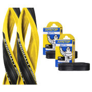 Michelin Lithion 2 Clincher Road Tyre Twin Pack with 2 Free Tubes - Yellow/Black 700c x 23mm
