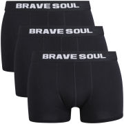 Brave Soul Men's 3-Pack Boxers  - Black