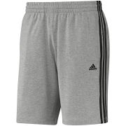 adidas Men's Essential 3 Stripe Shorts - Grey/Black