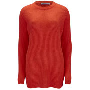 T by Alexander Wang Women's Mohair Knit Crew Neck Pullover Dress - Infrared