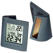 Solar Dual Powered Weather Station and Alarm Clock - Black