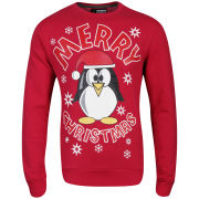 Christmas Branding Penguin Crew Neck Sweat - Raspberry