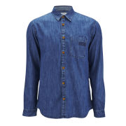Jack & Jones Men's Sharp Long Sleeve Denim Shirt - Blue Denim