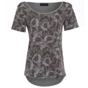Damned Delux Women's Pansy Print Tee with Embellished Shoulder - Grey