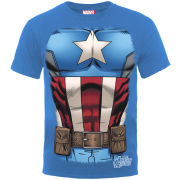 Marvel Men's T-Shirt - Captain America Chest - Royal Blue