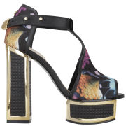 Kat Maconie Women's Pipa Silk/Leather Platform Heels - Bird Print/Black/Gold