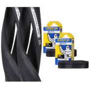 Vittoria Zaffiro Pro Clincher Road Tyre Twin Pack with 2 Free Inner Tubes - Black - 700c x 25mm