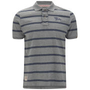Tokyo Laundry Men's Howse Peak Striped Polo Shirt - Mid Grey Marl