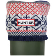 Hunter Women's Fairisle Pattern Cuff Welly Socks - Multi Red/Navy