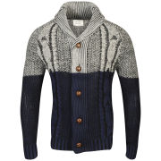 Brave Soul Men's Alpha Shawl Neck Button Through Cardigan - Grey/Blue