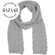 Johnstons of Elgin Exclusive to Harper's Bazaar Cable Knit Cashmere Scarf - Silver/Grey