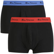 Ben Sherman Men's 2 Pack Trunks with Contrast Waistband - Blue/Red