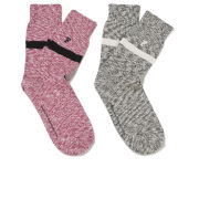 French Connection Men's Travis 2 Pack Socks - Charcoal/Beaujolais