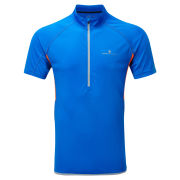 RonHill Men's Advance Short Sleeve 1/2 Zip Running T-Shirt - Electric Blue/Fluo Orange