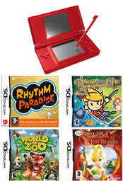 Nintendo Ds Lite Red: Bundle (Including Rhythm Paradise, Drawn to Life: The Next Chapter, World Of Zoo & Tinkerbell And The Lost Treasure)