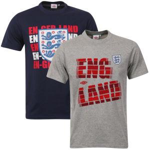 Umbro Men's England 2-Pack T-Shirts - Navy/Grey