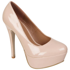 Odeon Women's Patent Platform Heels - Nude