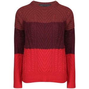 Marc by Marc Jacobs Women's Connolly Stripe Sweater Crew Neck - Corvette Red