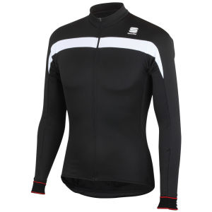 Sportful Pista Long Sleeve Jersey Full Zip - Black/White