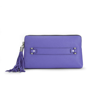 MILLY Astor Pebble Hand Through Leather Clutch - Blue