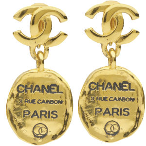 Susan Caplan Vintage Chanel Gilt Metal 'Chanel' Tag Drop Earrings