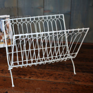 Nkuku Mena Magazine Rack - Distressed White - 38 x 37 x 28cm