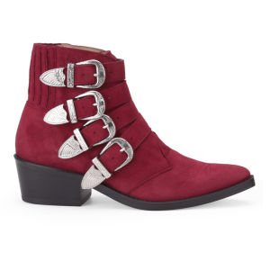 Toga Pulla Women's Buckle Suede Ankle Boots - Red