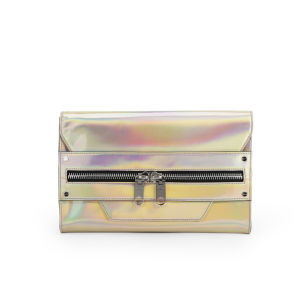 MILLY Demi Hologram Leather Clutch Bag - Champagne