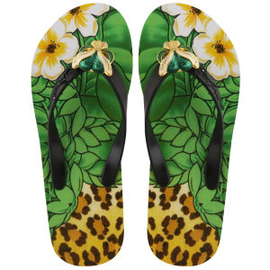 Miss Trish Women's Leopard Wedged Flip Flops - Black