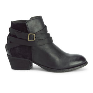 H Shoes by Hudson Women's Horrigan Tie Around Leather Ankle Boots - Jet