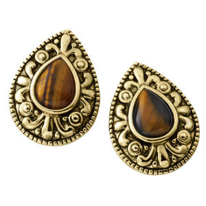 Tiger Eye Gold Plated Earrings