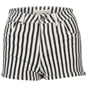 Bravesoul Women's High Waisted Striped Shorts - Black/White