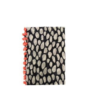 Diane Von Furstenberg Women's Black & White Animal Dots Circle Scarf - Animal Dots Black